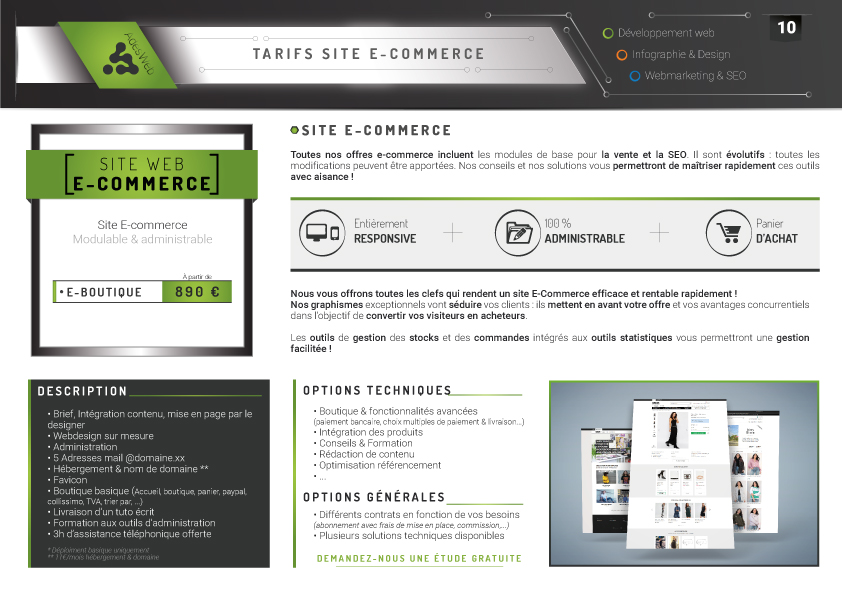Tarifs et description pack web e-commerce