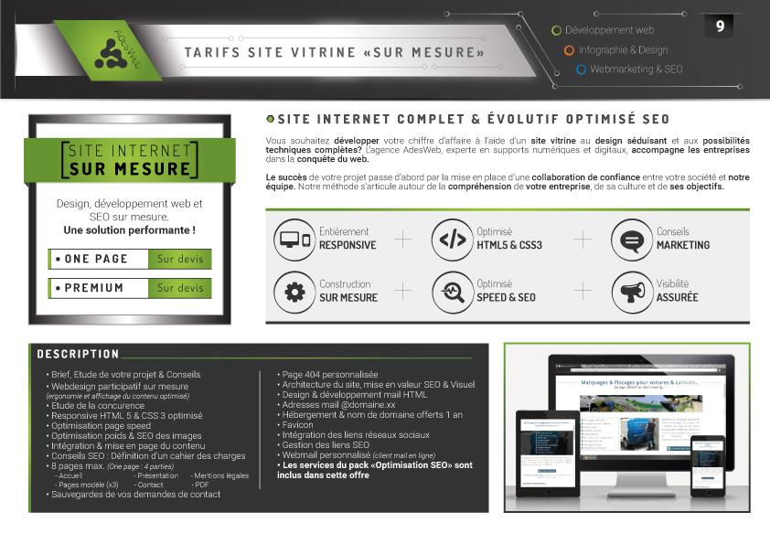 Tarifs pack site internet sur mesure